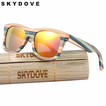 SKYDOVE Wooden Sunglasses Women  Mirror Goggle Square Skateboard Sunglasses Bamboo Vintage Polarized  Bamboo Sunglasses For Man