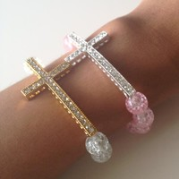 Rhinestone Cross Bracelet on Luulla