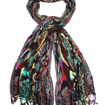 Devi Scarf, Woven Reversible Striped Pashmina Shawl, Hand Made in India