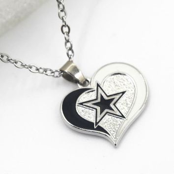Heart Sports Pendant Dallas Cowboys Charm Necklace Pendant Jewelry With 50cm Cross Chain Necklace Jewelry 10pcs