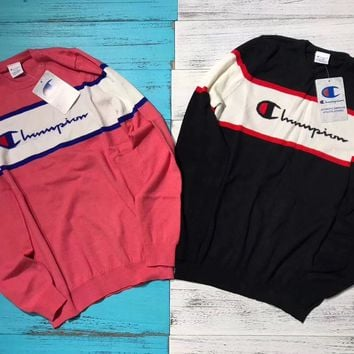 """Champion"" Round Neck Top Sweater Pullover Sweatshirt"