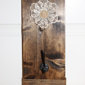 Wooden Hook - Wood Key Holder - Farmhouse - Barn Style - Rustic