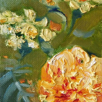 "Artist Trading Card, ACEO Original oil painting, flower, ""Tagetes"", paper"