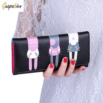 Fashion Korean Envelope Women Wallet 2017 Kawaii Cats Cartoon Women PU Long Clutch Wallet Girl Credit Card Holder coin purses