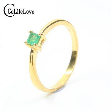 Simple silver emerald ring for wedding SI grade 3 mm * 3 mm natural emerald silver ring solid 925 sterling silver gemstone ring