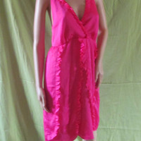 Vintage Hot Pink Halter Top Style Spring or Summer Dress! Size 10, Fits Medium to Large, Mid-length, Ruffle Lining, Women's, Teens.