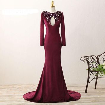 Long Sleeves Wine Red Dress Sexy Evening Dresses Long Mermaid With V-Back beading