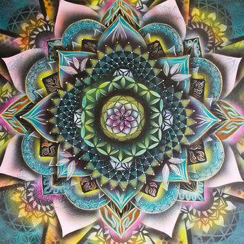 Cell - Sacred Geometry Mandala - Acrylic Visionary art painting