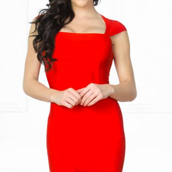Indie XO Kiss Me Bright Red Square Neck Bandage Sleeveless High Back Zip Close Fitted Bodycon Sheath Pencil Mini Dress