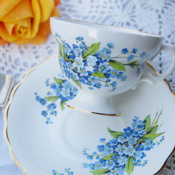 Cheery ROSINA, Tea Cup and Saucer, Blue Forget Me Not/Floral, Footed, England
