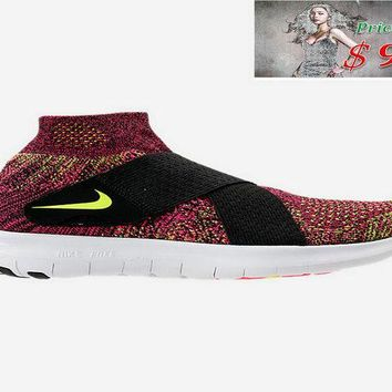 Real WOMENS NIKE FREE RN MOTION FLYKNIT 2017 RUNNING SHOES 880846 004 Black Chlorine Blue Racer Pink shoe