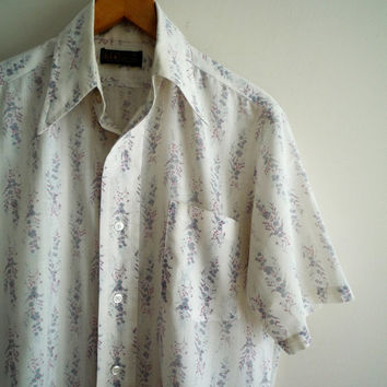 1970s Mens H.I.S. Short Sleeve Shirt Floral Print Pattern