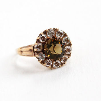 Vintage 10K Rosy Yellow Gold Simulated White Sapphire, Smoky Quartz Cluster Ring - Art Deco Size 7 1/4 White, Brown Glass Stone Fine Jewelry