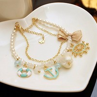Rudder Anchor Pearl Shell Bowknot Beach Bracelet