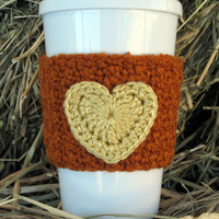 Crochet Heart Coffee Cup Cozy  Autumn Rust and Gold