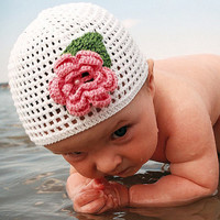 Crochet baby hat, white with pink flower, flower hat, girl hat, girl accessories for summer