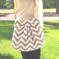 Medium Purse Gray Chevron Hobo Bag Small Baby by JanetElizabethLLC