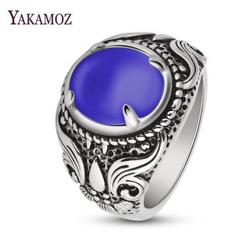 YAKAMOZ  Natural Oval Opal Purple Stone Rings Copper Women Men Ring Gothic Punk Claw Carving Finger Jewelry 4 Color