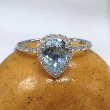 Aquamarine Engagement Ring 14K White Gold!Diamond Wedding Ring,6x8mm Pear Cut Blue Aquamarine,Halo,Bridal Fine Ring,Can make matching band