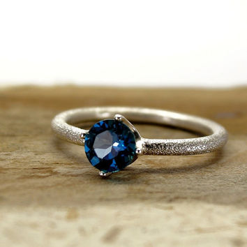 London blue Topaz sterling silver ring , Hand engraved gemstone ring , December birthstone ring , Engagement Ring