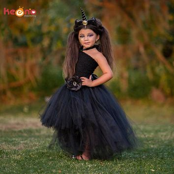 Stunning Black Unicorn Baby Tutu Dress Flower Girls Pageant Gown Children Holiday Costume Birthday Party Photo Props Dress