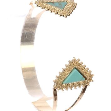 Khyati (Gold Blue) Natural Stone Triangle Metal Cuff