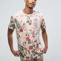Bershka Floral T-Shirt In Pink at asos.com