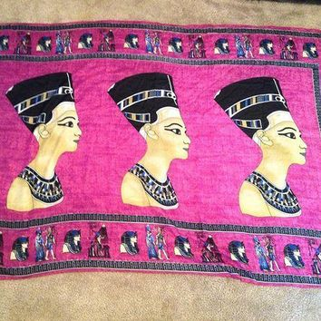 CREYRQ5 Huge XL Egyptian Handmade Queen Nefertiti Cotton woman Purple scarf from Egypt...