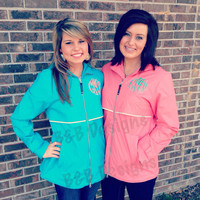 Monogrammed Preppy Rain Jacket with Hood for Women. Wind and Rain resistant. Stay Dry and Look Good