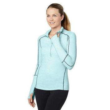 ICIKJG9 lucy Fast As Lightning Half Zip Top - Women's XS - Icicle Heather