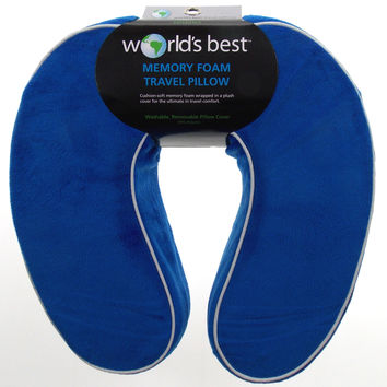 Neck Support Plush Travel Pillow Memory Foam Blue Relaxation White Trim U Shape