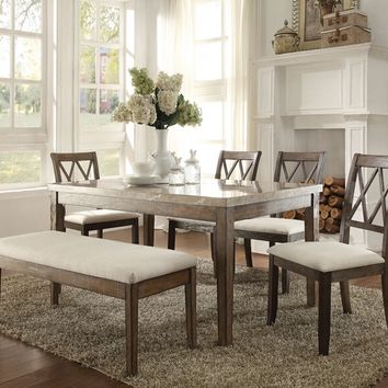 6 pc Claudia collection salvage brown finish wood and white marble top dining table set