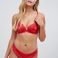 New Look Satin And Lace Push-Up Bra & Brief Lingerie Set at asos.com