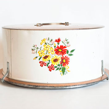 Vintage Decoware Flower Print Cake Carrier, Metal Tin White and Copper Tone Cake Holder Storage Container
