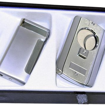 Visol Silver Kompano Lighter and Axe Cigar Cutter Gift Set