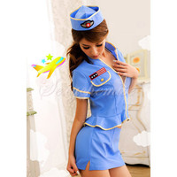 Flesh And Sexy Cotton Zipper Stewardess Costumes Blue [TQL120322019] - $23.14 : Zentai, Sexy Lingerie, Zentai Suit, Chemise