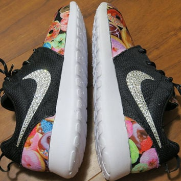 Custom Nike Roshe Run Donut Hot Coffee Bling Crystals Women