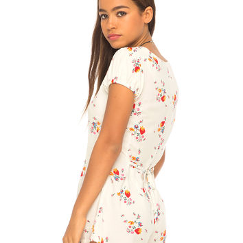 Trudie Playsuit in Ditsy Strawberry White by Motel