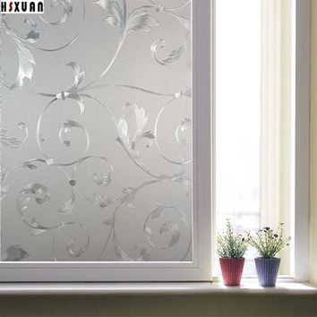 privacy decorative window film 50x100cm frosted glass window stickers on bathroom 3D flower home decor film Hsxuan brand 500829