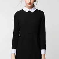 Contrast Pointed Flat Collar Zipper Back Long Sleeve Mini Shift Dress