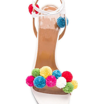 White Lace Up Pom Pom Detail Heeled Sandals