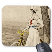 Vintage 1920s Woman Bicycle Advertisement Mouse Pads