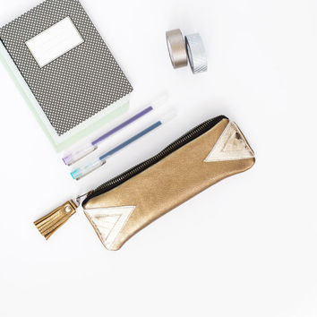 Gold Leather Pencil Case, Triangle Metallic Pen Pouch, Small Tassel Cosmetic Bag, Geometric Clutch, Back to School