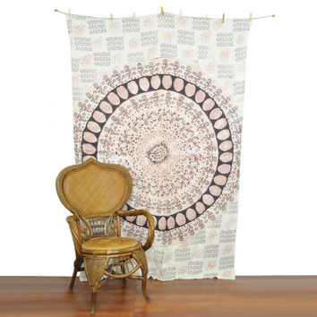 Bohemian Tapestry • Vintage Block Printed Indian Tapestry • Elephant Decor • Vintage 70s Tapestry • Bohemian Home Decor • Boho Wall Hanging