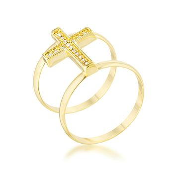 Francis CZ Gold Contemporary Cross Ring | 0.8ct | Cubic Zirconia | 14k Gold