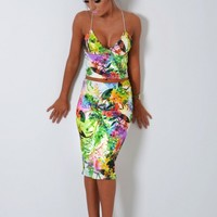 Orsina Multicolour Tropical Floral Bodycon Midi Skirt | Pink Boutique