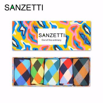 SANZETTI  5 pairs/lot Gift Box Men's Colorful Argyle Cotton Crew Socks Brand Business Socks Novelty Funny Skateboard Socks