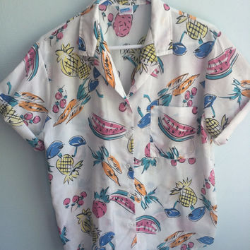 wrangler summer fruit shirt / 80s hawaiian shirt / luau shirt