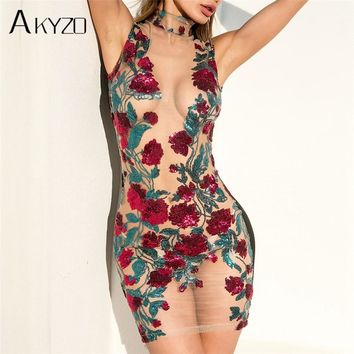 AKYZO Summer Mesh Embroidery Shirt Dress High Quality Women Sexy See Through Stand Bodycon Party Beach Mini Dresses