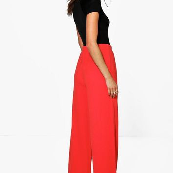 Tall Emma Wide Leg Pleat Front Trouser | Boohoo